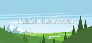Abstract landscape with green fields, trees, river and mountains with snow - frimufilms.com