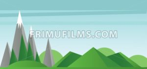 Abstract landscape with green fields, trees silver mountains with snow on top - frimufilms.com