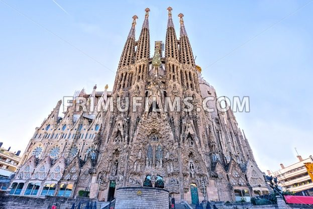BARCELONA SPAIN –  November 09, 2016: La Sagrada Familia,  Nativity Facade – the famous cathedral designed by Gaudi, which is being build since 19 March 1882 - frimufilms.com