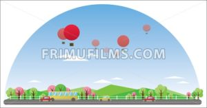 Digital vector abstract background with village - frimufilms.com