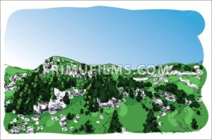 Digital vector mountain painted sketch - frimufilms.com