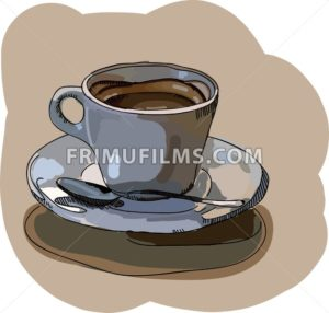 Digital vector painted cup of coffee - frimufilms.com