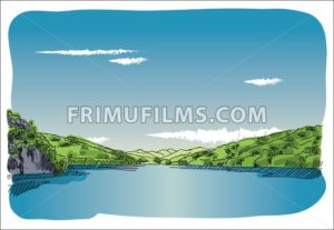 Digital vector sketch lake at transfagaras - frimufilms.com