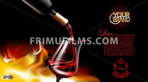 Vector Realistic Pouring Red Wine Glass. Logo advertise mock up. Vibrant background with place for your branding. 3d illustration  future design of  product - frimufilms.com