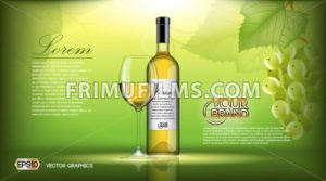 Vector Realistic Wine Bottle Mock up. White vine grapes. Green natural background with place for your branding. 3d illustration  future design or Advertise of  product - frimufilms.com