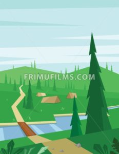 Digital vector abstract background with a bridge and river, tents and green heels with pine forest, blue sky and clouds, flat triangle style - frimufilms.com