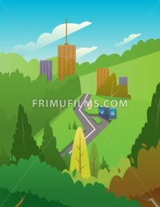 Digital vector abstract background with a car road to city with tall buildings, green hills, big tree, blue sky and clouds, flat triangle style - frimufilms.com