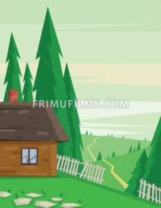 Digital vector abstract background with a house in the forest with fence and road, pine trees, flat triangle style - frimufilms.com