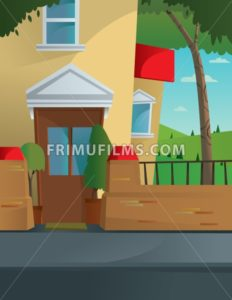 Digital vector abstract background with a street and road between houses, urban, fence, flat triangle style - frimufilms.com