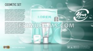 Digital vector aqua blue skin care cream, lotion and shampoo cosmetic container set mockup collection, your brand package, print ads or magazine design. Transparent and shine, realistic 3d style - frimufilms.com