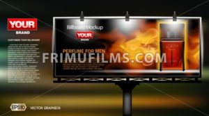 Digital vector red perfume cosmetic container mockup on a street billboard at night, lights on, your brand, ready for print ads, magazine design. Background, fire. Transparent, shine, realistic 3d - frimufilms.com