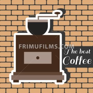 A brown coffee mill, with the best coffee inscription, in outlines, over a brown background with bricks, digital vector image - frimufilms.com