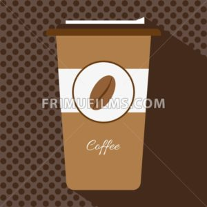 A brown cup of hot coffee with a cap and the logo of a coffee bean, in outlines, over a brown background with dots, digital vector image - frimufilms.com