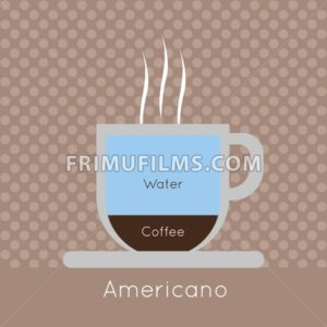 A cup of coffee with steam, with water and americano inscriptions, in outlines, over a brown background with dots, digital vector image - frimufilms.com