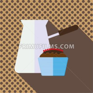 A jar of coffee with a brown chocolate cake with berries and shadow, in outlines, over a brown background with dots, digital vector image - frimufilms.com