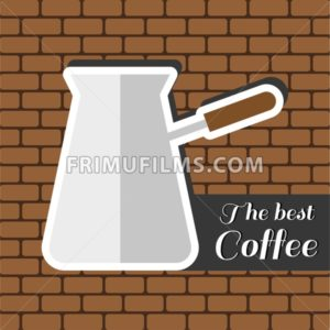 A jar of coffee, with the best coffee inscription, in outlines, over a brown background with bricks, digital vector image - frimufilms.com