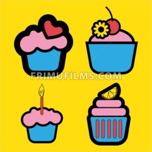 A set of four colored cakes, with heart, lemon and candle in outlines, over a yellow background, digital vector image - frimufilms.com