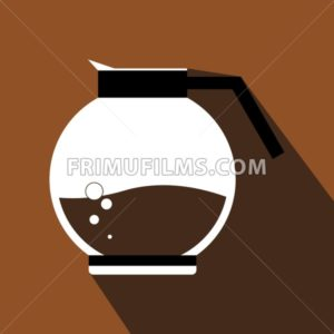 A white jar of hot coffee with bubbles, in outlines, over a brown background with dots, digital vector image - frimufilms.com