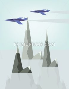 Abstract landscape design with jet planes and smoke flying above silver mountains with snow on top, flat style. Digital vector image. - frimufilms.com