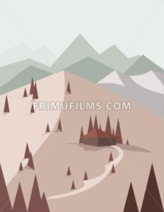 Abstract landscape in red style with pine trees, a house with a road, green hills and mountains, over a light background. Digital vector image. - frimufilms.com