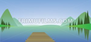 Abstract landscape with a river, wooden bridge and green fields. Digital vector image - frimufilms.com