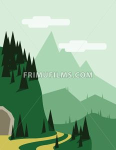Abstract landscape with pine trees, an yellow curved road, a tunnel entry, green hills and mountains, over a light green background with white clouds. Digital vector image. - frimufilms.com