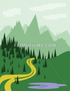 Abstract landscape with pine trees, an yellow curved road, purple lake, green hills and mountains, over a light green background with white clouds. Digital vector image. - frimufilms.com