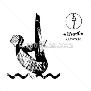 Brazil summer sport card with an abstract sportsman jumping in water, in black outlines. Digital vector image - frimufilms.com