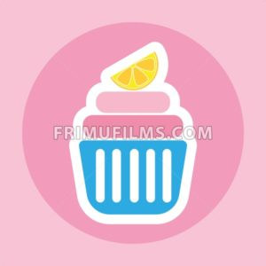 Card with a cream cake with a slice of lemon on top in a dark pink circle over a pink background, in outline style. Digital vector image. - frimufilms.com