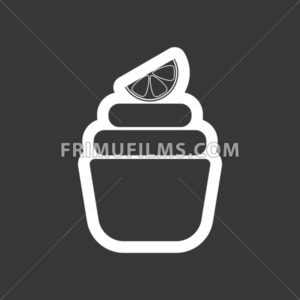 Card with a cream cake with a slice of lemon on top over a dark silver background, in outline style. Digital vector image. - frimufilms.com