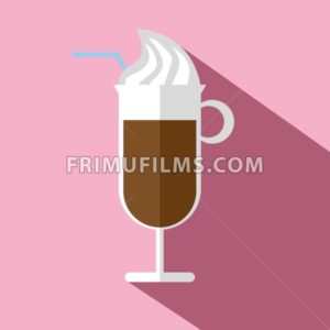 Glass of hot brown coffee with ice cream, a blue straw and shadow, in outline, over a pink background, digital vector image - frimufilms.com