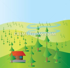 Green trees growing on yellow hills with a blue background and a small red house and blue clouds. Digital background vector illustration. - frimufilms.com