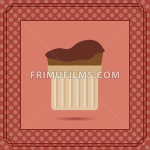 Red candy card with a chocolate cream cake, frames and white dots. Digital vector image. - frimufilms.com