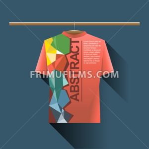 Abstract red shirt with colored logo with triangles and text on a hanger in wardrobe over dark blue background. Digital vector image - frimufilms.com