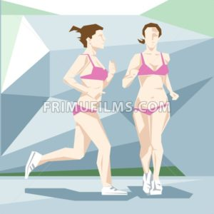 An abstract woman in swimming suit jogging, side and front view. Triangle style. Digital vector image. - frimufilms.com