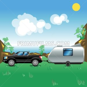 Camping pickup trailer on a meadow near a sea. Some hills with trees growing on. Summer sunny sky with white clouds. Beautiful seascape illustration. Digital vector image. - frimufilms.com