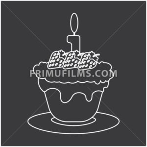 Candy card with a big chocolate cream cake with burning candle on top and strawberries with seeds, over silver background in outline style. Digital vector image. - frimufilms.com