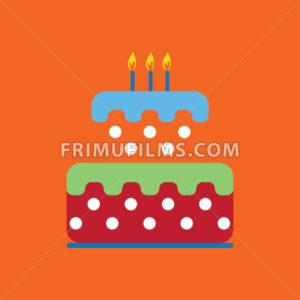 Candy card with a big colored cream cake with dots, burning candles on top, over orange background. Blue, green and red. Digital vector image. - frimufilms.com