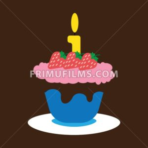 Candy card with a big fruit cream cake with chocolate and strawberries, big burning candle on top, over brown background. Blue, yellow, red, green and orange. Digital vector image. - frimufilms.com