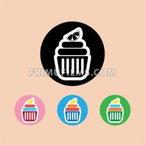 Candy card with a cream cakes, lemon slice on top, over peach background. Blue, yellow, pink, green and black. Digital vector image. - frimufilms.com