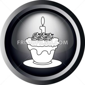 Card with a cake with strawberries with seeds and burning candle on top, in round frame in 3d over a white background, in black and white outline style. Digital vector image. - frimufilms.com