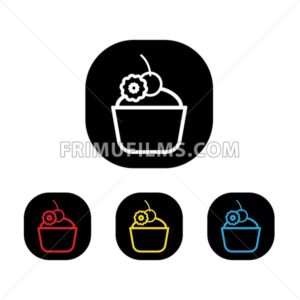 Card with a cream cake and candy with a cherry on top a white background, in outline style. Red, yellow, black and blue. Digital vector image. - frimufilms.com