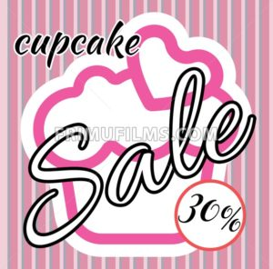Card with a cream cake with heart on top over a background in lines, in pink outline style with cupcake and sale text. Digital vector image. - frimufilms.com