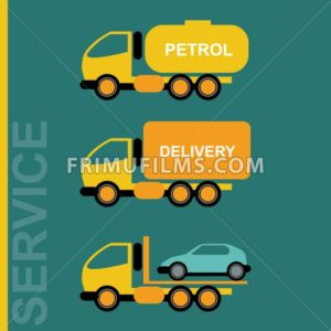 Delivery Cars. Petrol transportation truck. Car transporter. Various freighter automobiles. Isolated objects on green backdrop. Vector digital illustration. - frimufilms.com