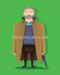 Digital vector abstract old cartoony man with brown coat, beard and umbrella, over green background, flat triangle style - frimufilms.com