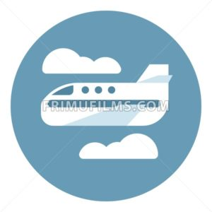 Digital vector aeroplane in blue circle with clouds sign, flat style - frimufilms.com