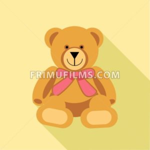 Digital vector bear toy with pink ribbon, over yellow background, flat style - frimufilms.com