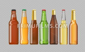 Digital vector beer mockup set, red, orange, brown, green bottle, realistic flat style, isolated and ready for your design and logo - frimufilms.com