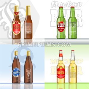 Digital vector beer set mockup, green and brown bottle, realistic flat style, isolated and ready for your design and logo - frimufilms.com