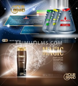 Digital vector blue and brown shower gel and shampoo for men mockup on water background with bubbles, oil skin pretector, your brand, ready for design. Realistic style - frimufilms.com